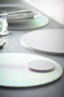 Set of 4 Iridescent Reversible Glitter Table Mats And Coasters