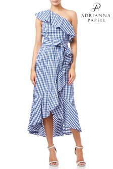 Adrianna Papell Blue  Gingham One Shoulder High Low Dress
