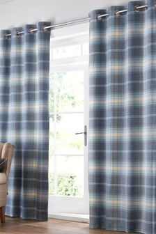 Ellesmere Woven Check Eyelet Curtains