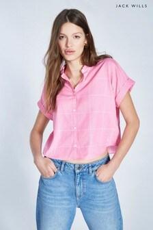 Jack Wills Pink Stowell Stripe Dolman Sleeve Shirt