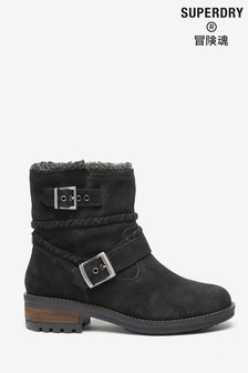 Superdry Black Biker Boots