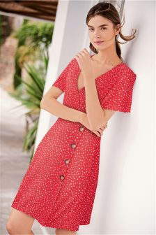 Red/White Spot Button Dress (543053) | £22