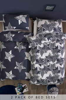 2 Pack Geometric Stars Duvet Cover And Pillowcase Set
