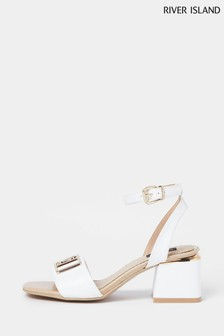 River Island White Wide Fit Branded 2 Part Sandals