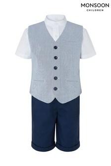 Monsoon Blue Oliver Ticking Stripe Three Piece Waistcoat Set