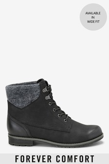 Forever Comfort® Collar Detail Lace-Up Boots