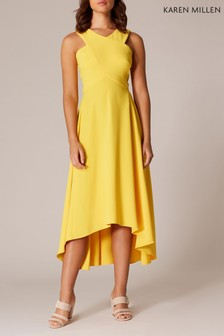Karen Millen Yellow Colourful Midi Day Dress