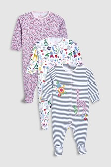 Pretty Floral Sleepsuits Three Pack (0mths-2yrs)