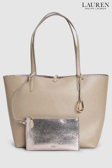 Lauren Ralph Lauren Taupe Gunmetal Reversible Tote Bag