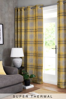 Astley Check Eyelet Super Thermal Curtains