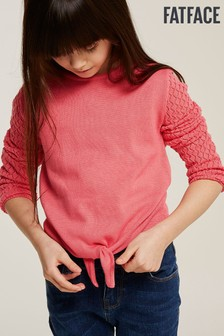 FatFace Pink Talia Tie Front Knit