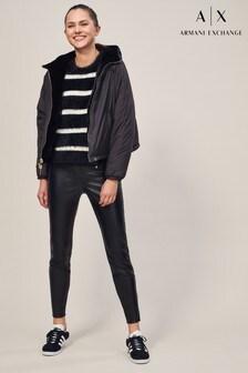 Armani Exchange Faux Leather Zip Trouser