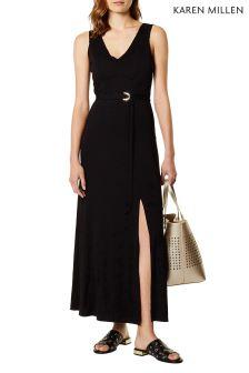 Karen Millen Black Belted Jersey Maxi Dress