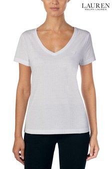 Lauren Ralph Lauren® White V-Neck T-Shirt