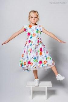 فستان حاشية مربعة استوائي أبيض من Angel & Rocket