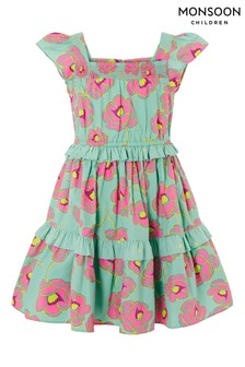 Monsoon Green Bold Floral Ruffle Dress