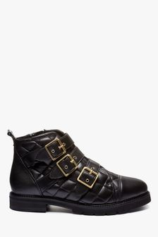 Forever Comfort® Quilted Buckle Detail Ankle Boots