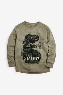 Топ с длинным рукавом и динозавром (3-14 лет)