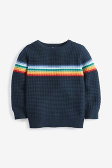 Rainbow Stripe Textured Jumper (3mths-7yrs)