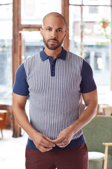 Short Sleeve Dogtooth Knitted Polo