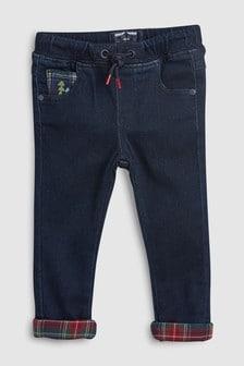 Ультрамягкие джинсы без застежек с отворотами в клетку (3 мес.-6 лет)