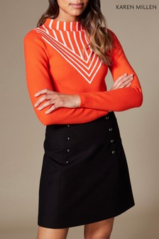 Karen Millen Orange Chevron Stripe Knit Jumper