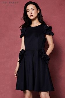 Ted Baker Deneese Navy Frill Cold Shoulder Dress