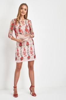Embroidered Mesh Shift Petite Dress