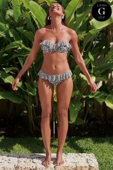 Printed Frill Bandeau Bikini Top