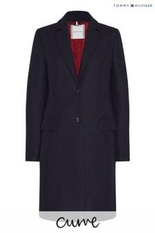 Tommy Hilfiger Blue Curve Essential Wool Classic Coat