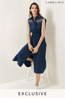 Mix/Teatum Jones Placement Stripe Sleeveless Shirt Dress