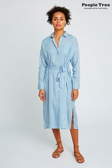 People Tree Blue Ginny Stripe Shirt Dress