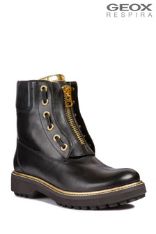 Geox Asheely Plus Black Biker Boot
