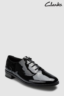 Clarks Black Patent Leather Drew Star Lace-Up Youth Shoe