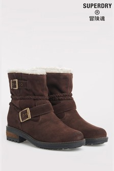 Superdry Brown Biker Boots