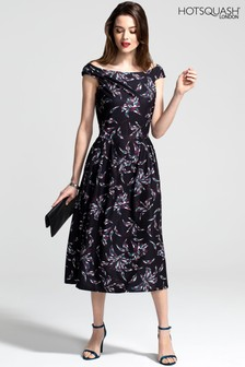 HotSquash Purple Floral Midi Length Tea Dress