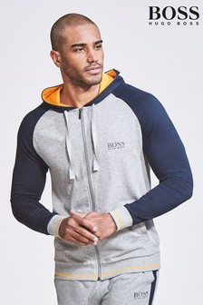 BOSS Grey/Navy Raglan Zip Through Hoody