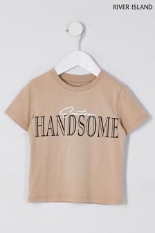 River Island Stone Light Handsome T-Shirt