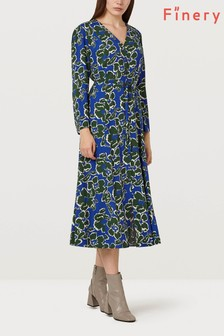 Finery London Daniella V Large Green Floral Print Dress