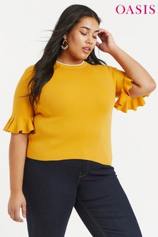 Oasis Yellow Curve Freya Jumper