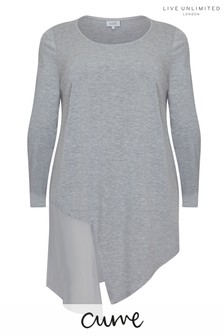 Live Unlimited Grey Jersey Chiffon Mix Longline Tee