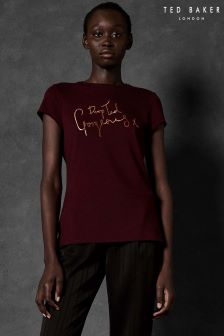 Ted Baker Ted Says Drop Ted Gorgeous Red Slogan Tee