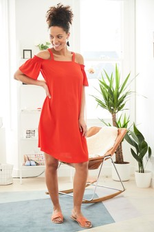 Maternity Cold Shoulder Strap Dress
