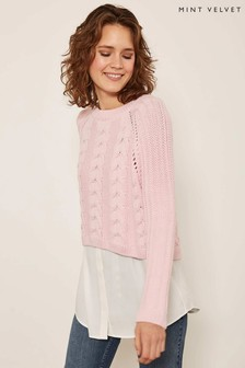 Mint Velvet Pink Cable Knit Woven Layer Jumper