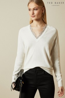 Ted Baker Cream Alyyiss Lace Insert V-Neck Jumper