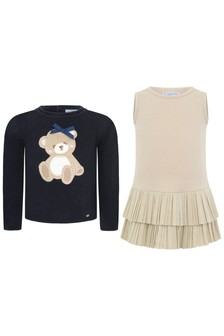Baby Girls 2-In-1 Navy Jumper And Dress Set