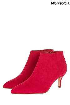 Monsoon Red Kendall Kitten Heel Point Boot