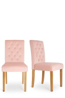 Set Of 2 Moda III Buttoned Dining Chairs