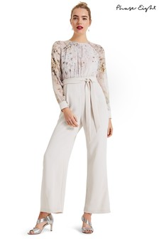 Phase Eight Cream Aleena Printed Bodice Jumpsuit