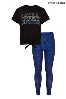 River Island Amour Tie Tee And Leopard Print Legging